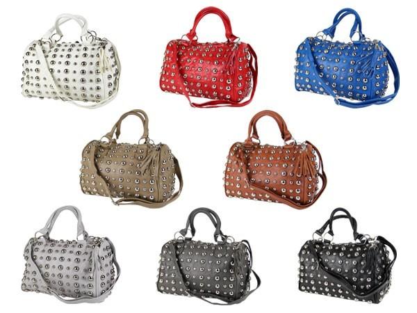 Handtasche-Nieten-Tasche-Vintage-Noppen-Shopper-Bag-Damen-Tasche-div-Farben-NEU