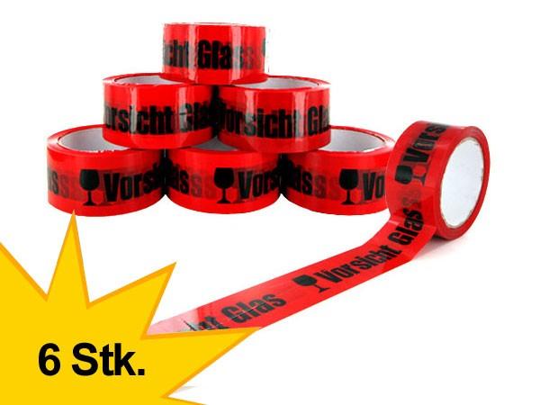 6 st ck vorsicht glas klebeband rot packband warnklebeband paketband rolle ebay. Black Bedroom Furniture Sets. Home Design Ideas