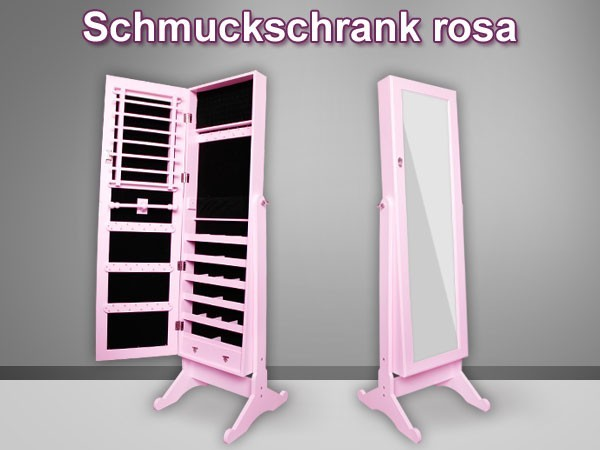 spiegel schrank schmuck schrank ohr ringe schmuck kasten ketten vit 03a pink ebay. Black Bedroom Furniture Sets. Home Design Ideas