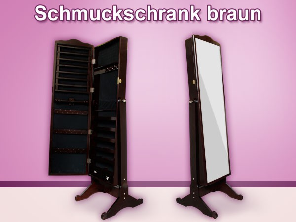 spiegel schrank schmuck schrank ohr ringe schmuck kasten ketten vit04 braun gro ebay. Black Bedroom Furniture Sets. Home Design Ideas