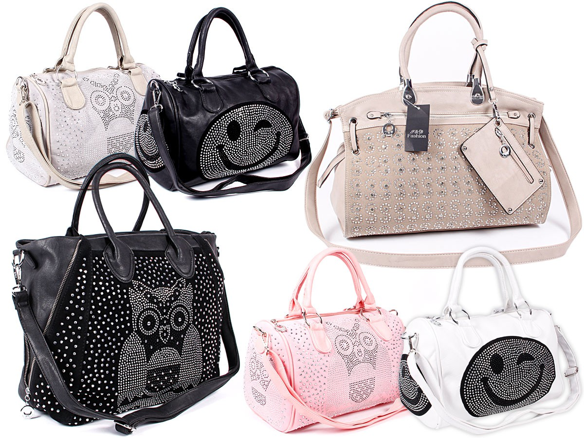 strass damen schultertasche shopper bag handtasche glitzer eule nieten tasche ebay. Black Bedroom Furniture Sets. Home Design Ideas