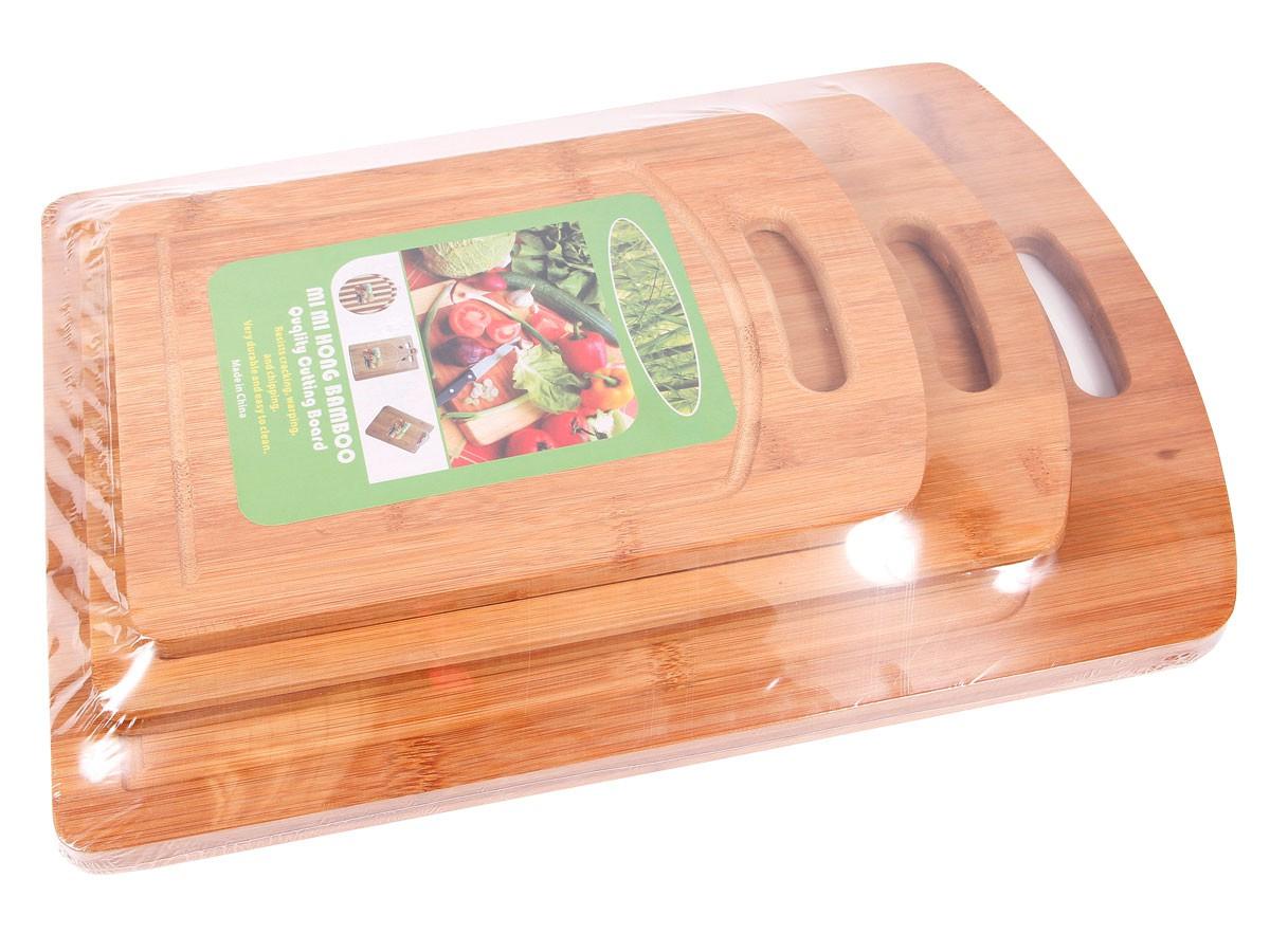3 planches d couper poign e planche en bois bambou for Planche en bois cuisine