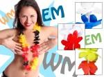 2 Stück Hawaiikette Blumenketten  EM WM Hawaiiketten Hula Blumen Kette Länder