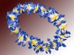 Hawaiiketten Blumenkette Hula Deluxe gelb weiß blau HKm-30