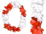 Hawaiiketten Blumenkette Hula Deluxe rot weiß HKm-10
