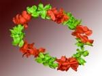 Hawaiiketten Blumenkette Hula Deluxe rot grün HKm-12