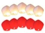 10 Himmelslaternen 5 rot 5 weiß gemischt Skylaternen Skyballon Himmelslaterne
