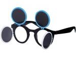 Gaga Retro Sonnenbrille Raver Techno Aufklappbar Keyhole Flip Up Verspiegelt Bild 7