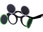 Gaga Retro Sonnenbrille Raver Techno Aufklappbar Keyhole Flip Up Verspiegelt Bild 9