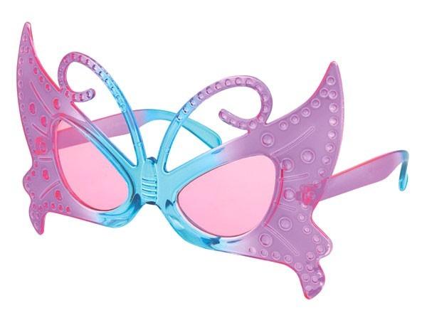 sonnenbrille funbrille partybrille schmetterling lila blau 03. Black Bedroom Furniture Sets. Home Design Ideas
