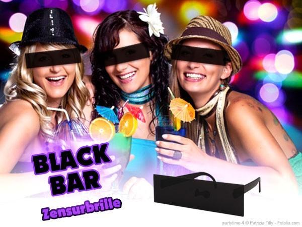 Sonnenbrille Funbrille Spaß Brille Zensurbrille Balkenbrille Zensiert schwarz 34