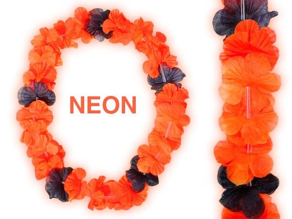 hawaikette blumenketten hulakette neon orange schwarz 48. Black Bedroom Furniture Sets. Home Design Ideas