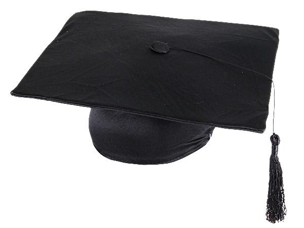 Doktorhut in schwarz für Abschlussfeier