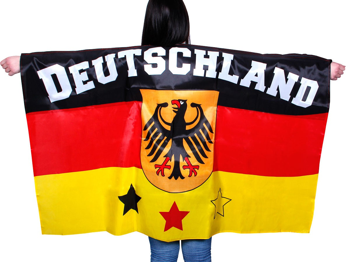 deutschland flagge fahnen cape fan kost m fan umhang fahnen umhang poncho wm ebay. Black Bedroom Furniture Sets. Home Design Ideas
